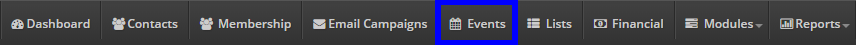 Image of the 'Events' button at the top of the page.