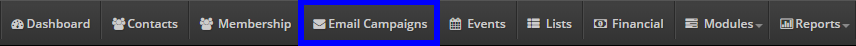 Click 'Email Campaigns' on the bar at the top of the page.