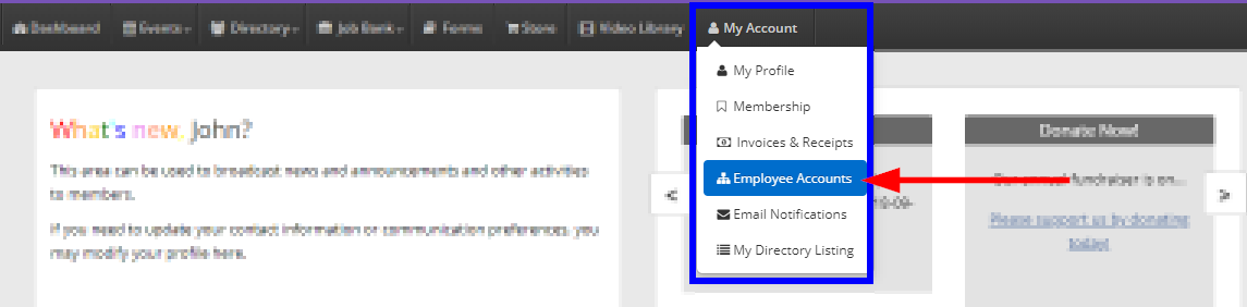 Image showing the drop-down menu that appears when clicking 'My Account' on the Member Portal, and indicating the 'Employee Accounts' button.