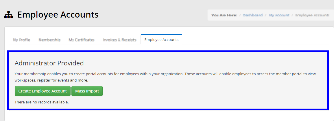 Image showing an example Group Membership for which the example user is a Primary Contact ('Administrator Provided'). We see two buttons for adding Employee Accounts: 'Create Employee Account' and 'Mass Import',