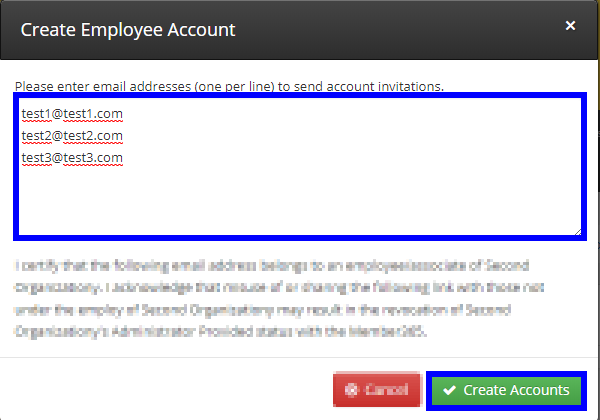 Image showing the window that appears when adding Employee Accounts in bulk, showing example emails one-per-line in the text box, and indicating the 'Create Accounts' button at the bottom of the window.