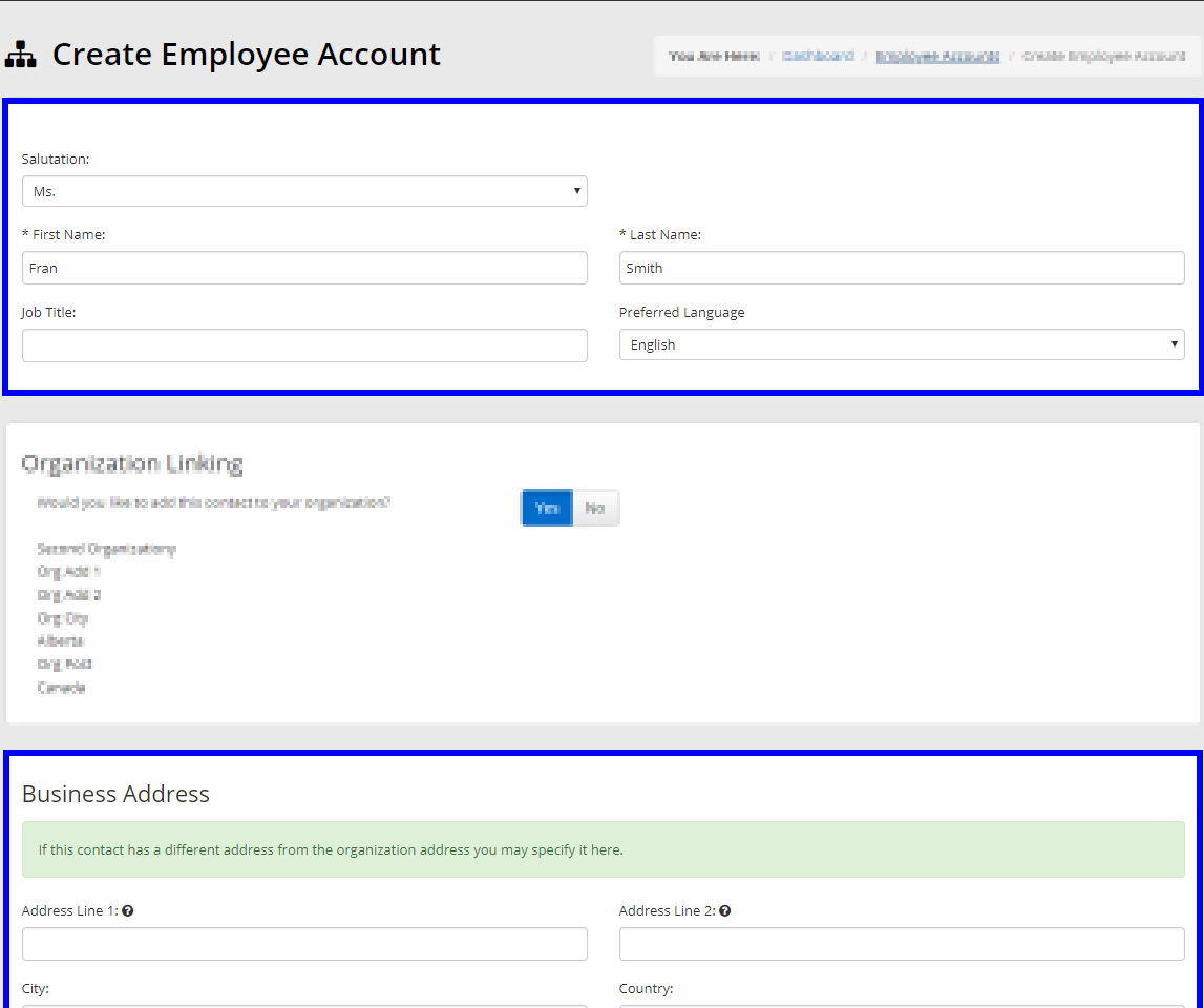 Image showing the configuration page when adding a new Employee Account, indicating the fields for basic contact information.