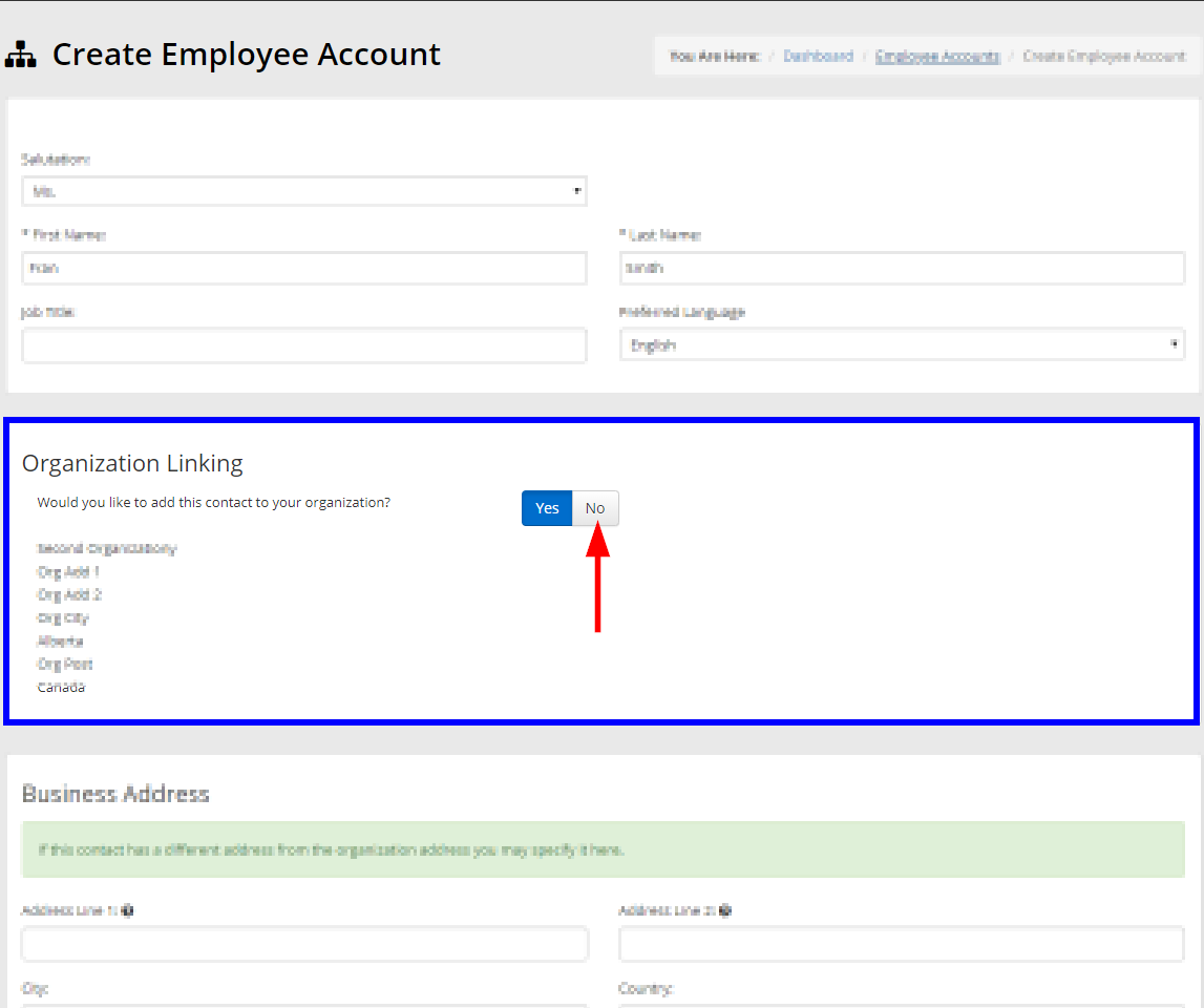 Image showing the page for configuring the contact information of an Employee Account, indicating the section for 'Organization Linking' and the button you can click labeled 'No'.