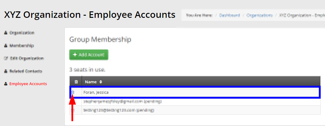 Image indicating the trash icon next to a Contact in the Employee Accounts list. Click it to remove the Contact from the Group Membership.