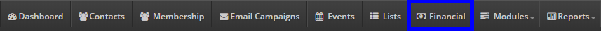 Image indicating the 'Financial' tab at the top of the Member365 Administrator Dashboard.