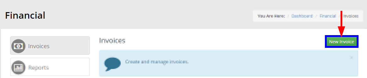 Image indicating the 'New Invoice' button at the top of the Invoice Management page.