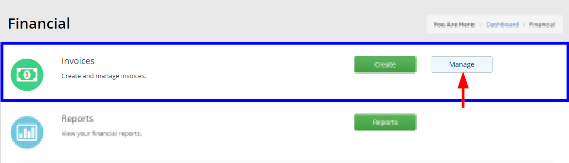 Image indicating the 'Manage' button next to 'Invoices' on the page that appears after clicking the Financial tab.