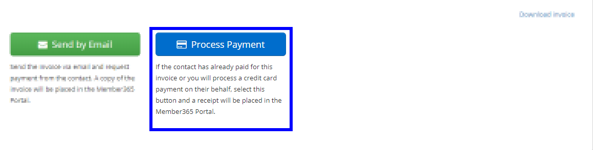 Image indicating the 'Process Payment' button that's seen at the bottom of an Invoice Pending Payment.