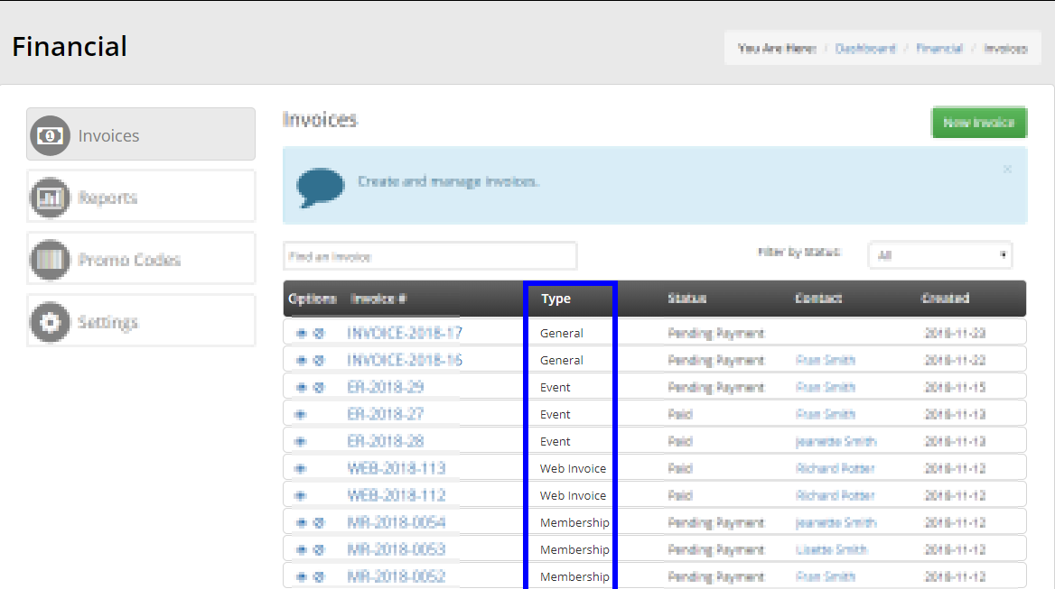 Image showing a list of invoices on the Invoice Management page, and indicating the 'Type' column.