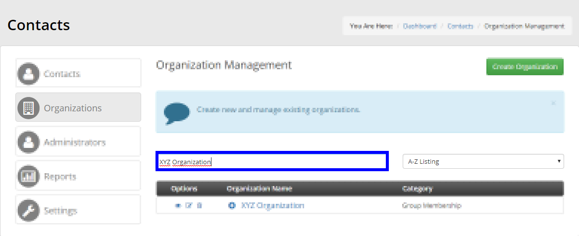 Image showing an example of using the search bar to filter results in the Organization Management list.