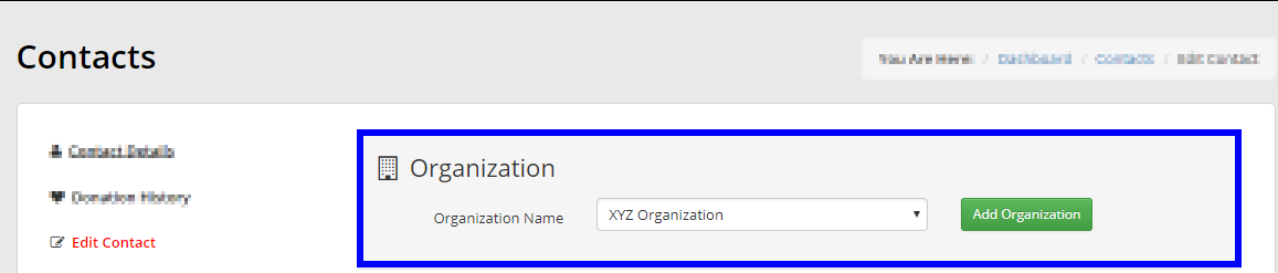 Image showing the 'Organization Name' field on the 'Edit Contact' page.