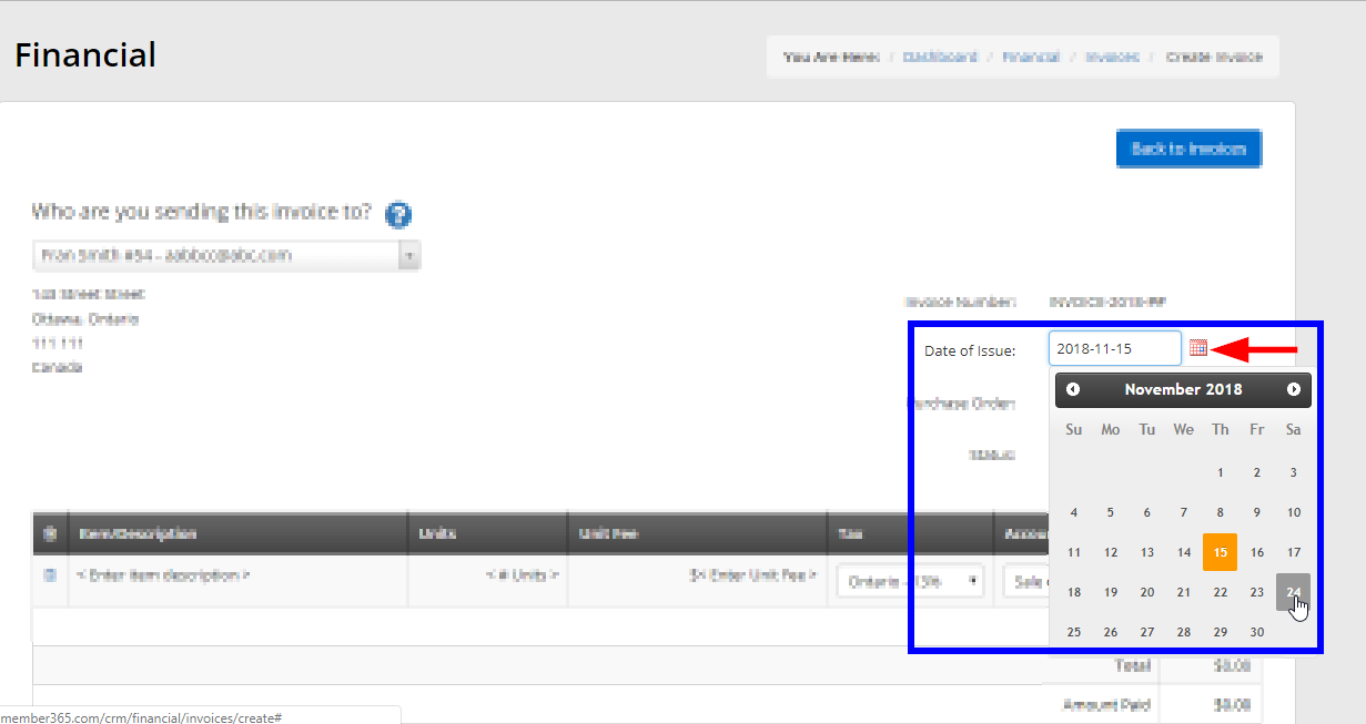Image showing an example of changing the 'Date of Issue' field when creating a new invoice manually.