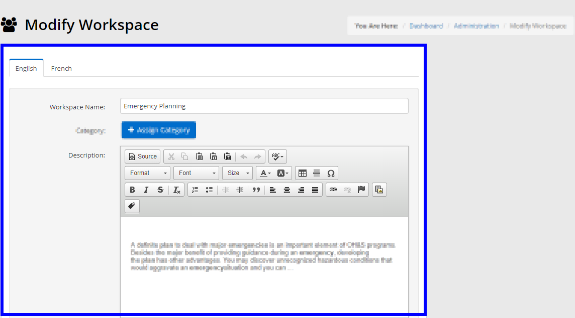 Image showing the Title and Description fields for a Workspace.