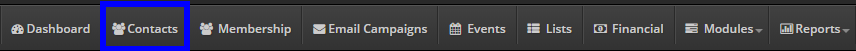 Image showing the bar at the top of the Administrator Dashboard, with a box around the 'Contacts' button.