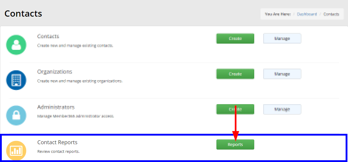 Image showing the 'Reports' button next to 'Contact Reports' on the management page for Contacts.