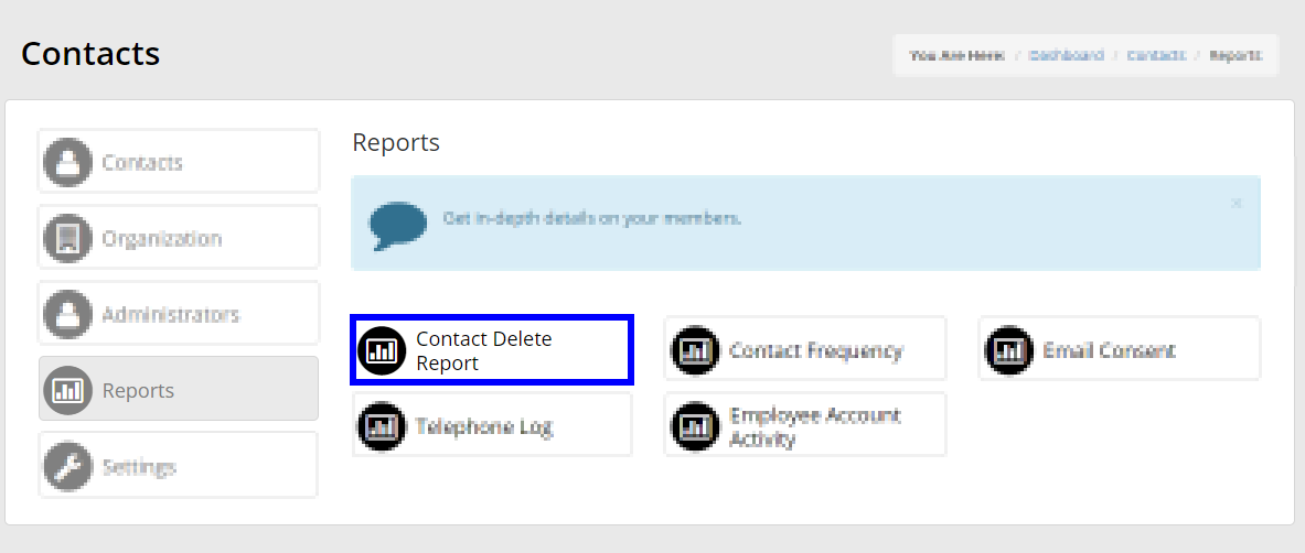 Image indicating the button for 'Contact Delete Report' on the list of Contact Reports.