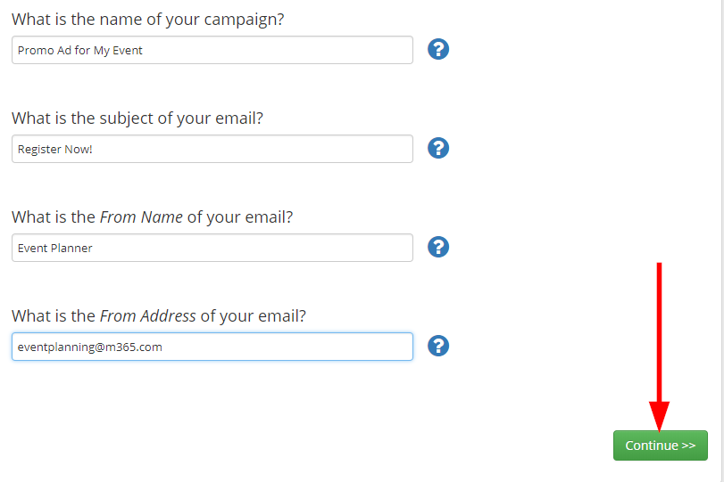 Image showing the screen where you specify an Email Campaign name/subject/etc., and indicating the 'Continue' button.