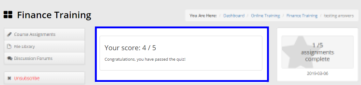Image showing a sample quiz submission. Someone scored 4/5 and there is a pass message reading 'Congratulations, you have passed the quiz!'
