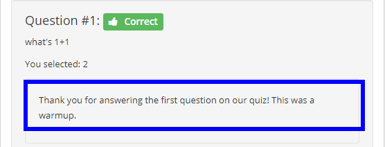 Image showing some generic feedback that will be the same regardless of whether or not the answer was correct.