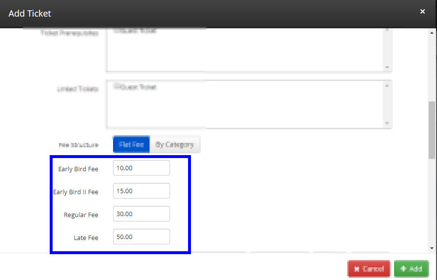Image showing a ticket configuration window. We can see there is an Early Bird Fee, and Early Bird II Fee, a Regular Fee, and a Late Fee.