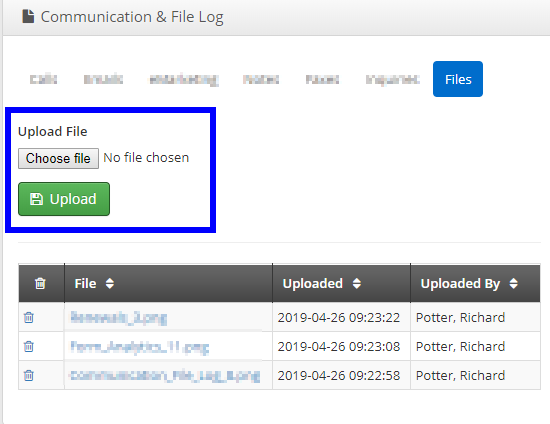 Image indicating the upload field under the 'Files' tab, and showing a list of pre-existing files.