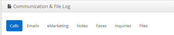Image showing a Communication & File Log. The tabs are Calls, Emails, eMarketing, Notes, Faxes, Inquiries, Files