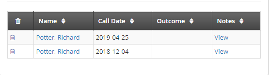 Image showing an example of the Calls log with two entries.