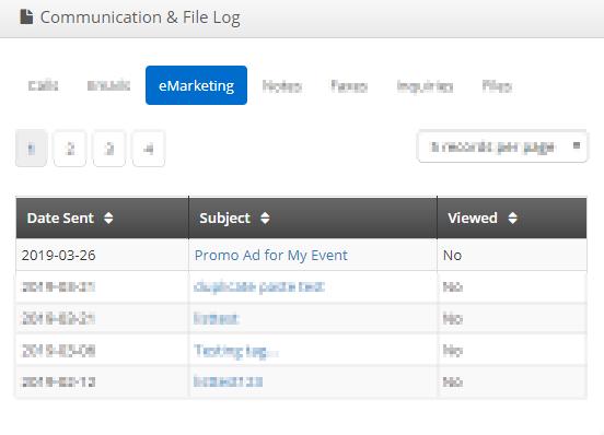 Image showing a list of eMarketing emails on a sample Communication & File log.