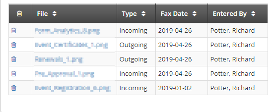 Image showing a sample Fax list. There are columns for the File Name, the Fax Type, the Fax Date, and the Administrator who uploaded it.