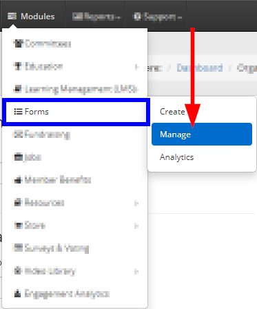 Image showing the Modules -> Forms -> Manage series of drop-down menus.