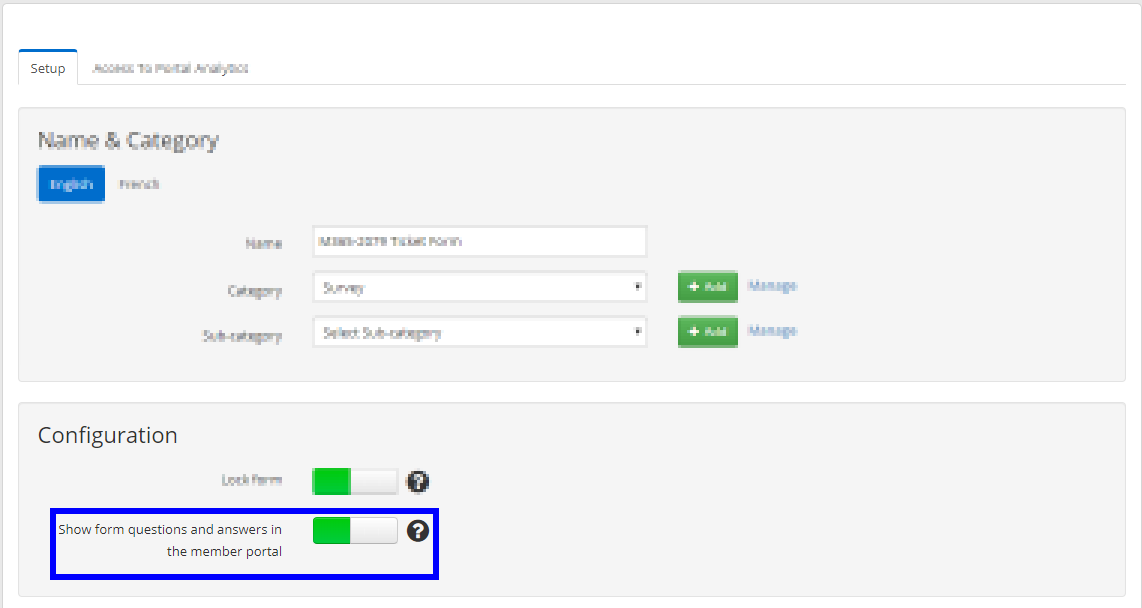 Image indicating the 'Show form questions and answers in the member portal' toggle, which is turned on.