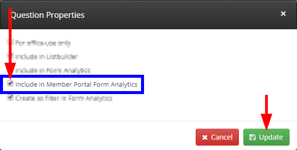 Image indicting the 'Include in Member Portal Form Analytics' checkbox.