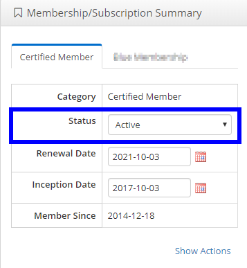 Image showing the 'Membership/Subscription Summary' on someone's Contact Record denoting an example of an Active Membership.
