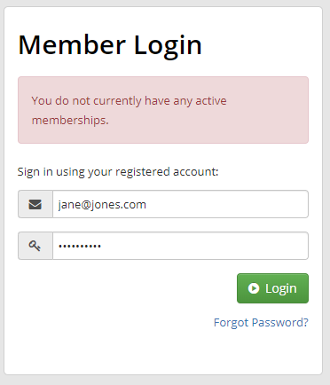 "Image showing the what a fully Lapsed Member would see if they try logging into the Member Portal. A message informing them: ""You do not currently have any active memberships."""