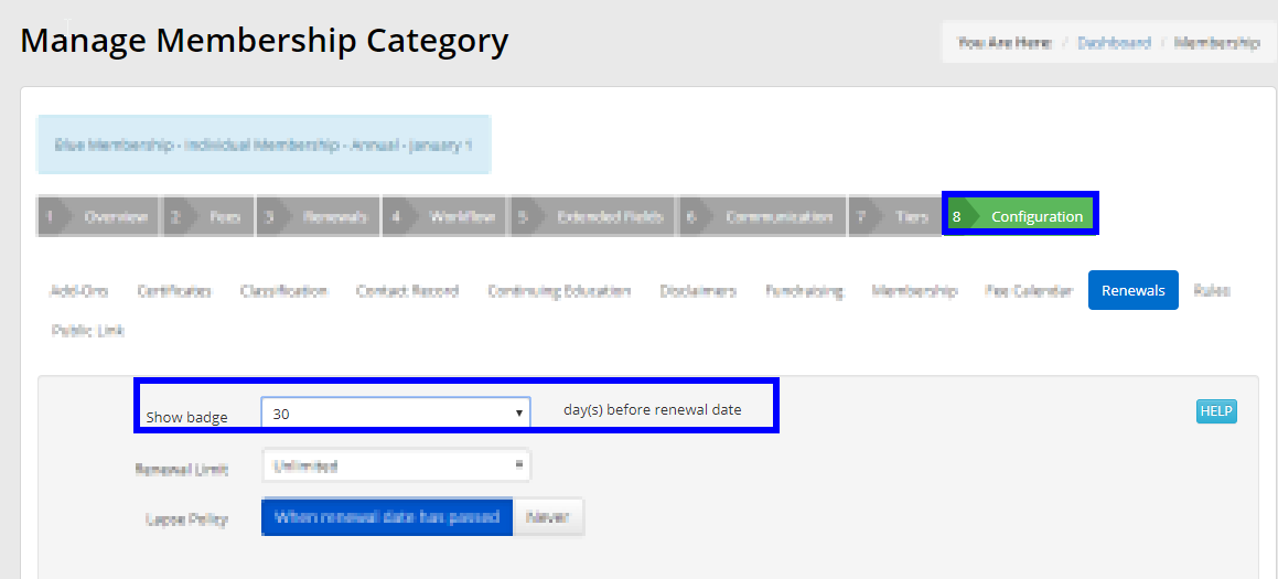 Image showing a value of 30 for the 'Show badge' field under the Renewals sub-tab of the Configuration tab in a Membership Category setup.