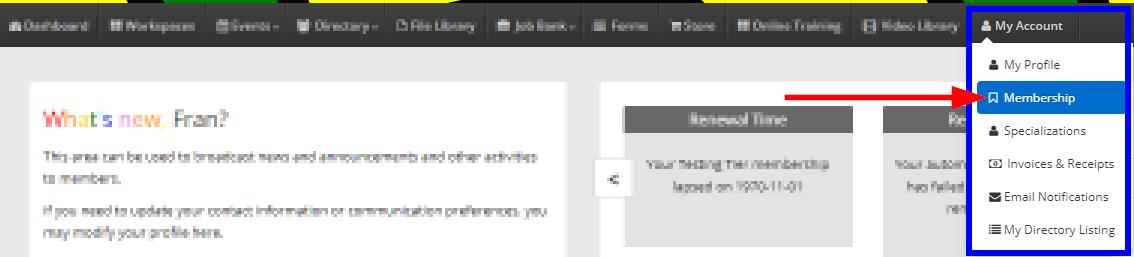 Image showing the 'My Account' -> 'Membership' dropdown menus from the Member Portal.