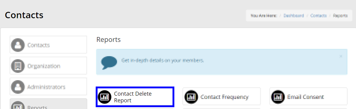 Image indicating 'Contact Delete Report' from the list of reports.