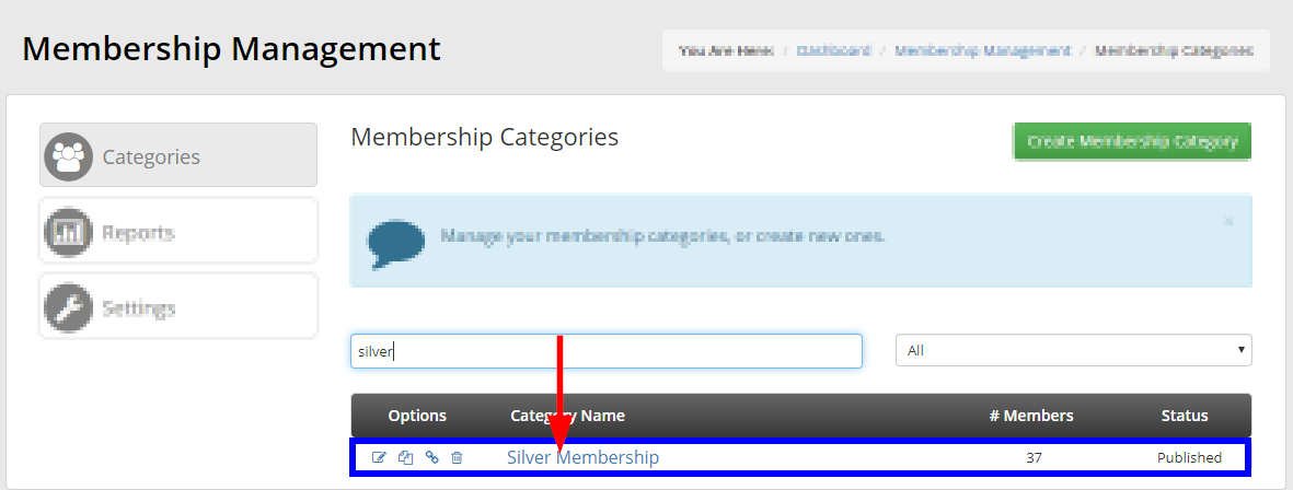 Image showing the search bar used to look up 'Silver Membership' from the list of Membership Categories.