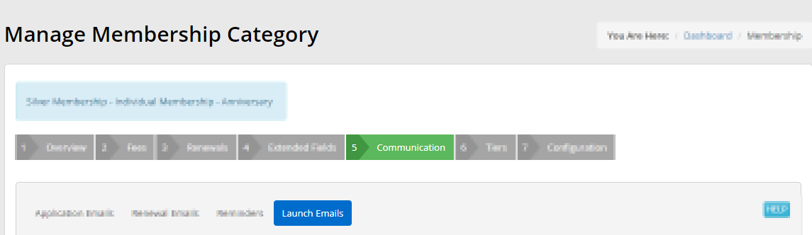 Image indicating the 'Launch Emails' sub-tab under the 'Communication' sub-tab when editing a Membership Category.