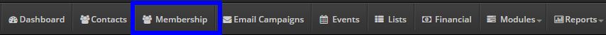 Image showing the 'Membership' button on the bar at the top of the screen.