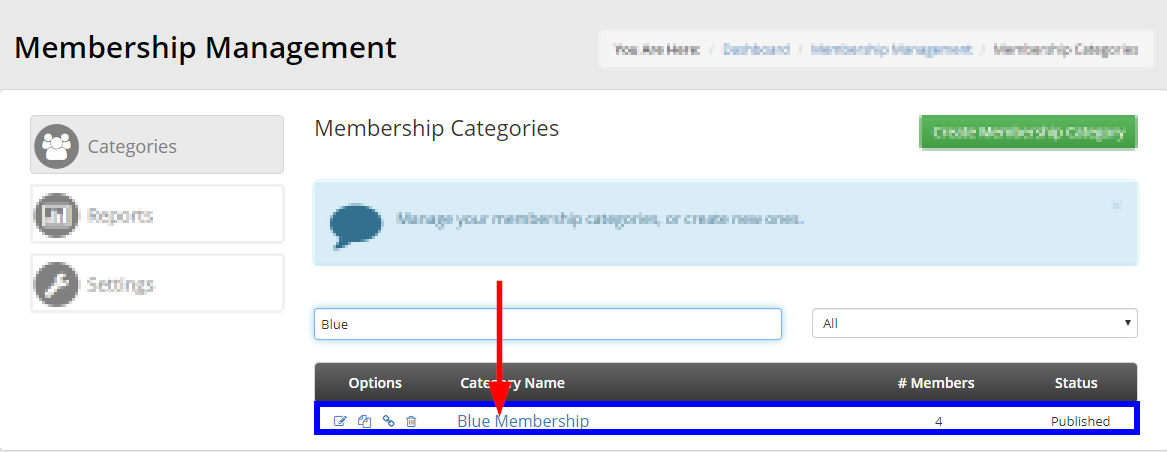 Image showing an example of using the search bar to locate 'Blue Membership'.