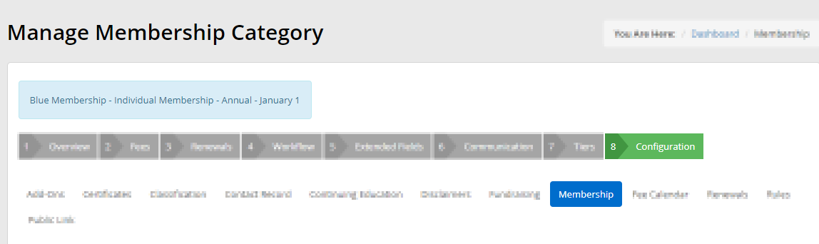 Image showing the 'Membership' sub-tab under the 'Configuration' tab when editing a Membership Category.
