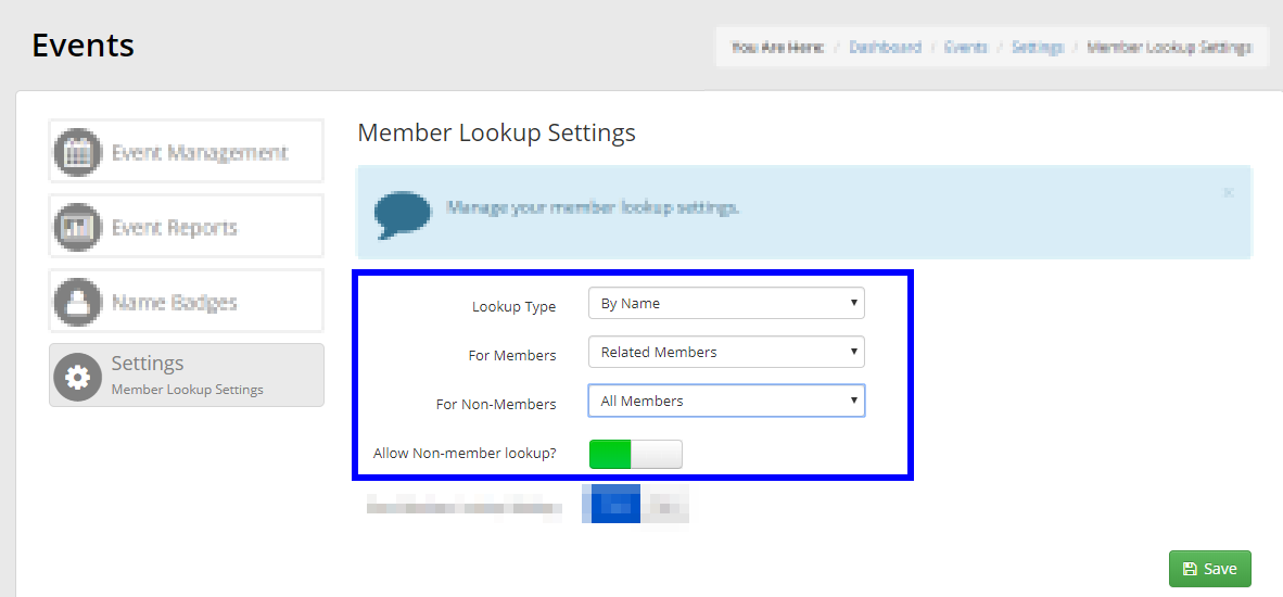 Image showing the page for configuring Member Lookup Settings.