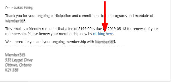 Image showing a sample Renewal Reminder email, indicating the 'Click Here' link to initiate the renewal process.