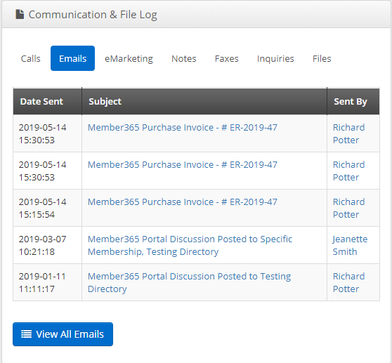 Image showing a sample Communication & File Log with email history.