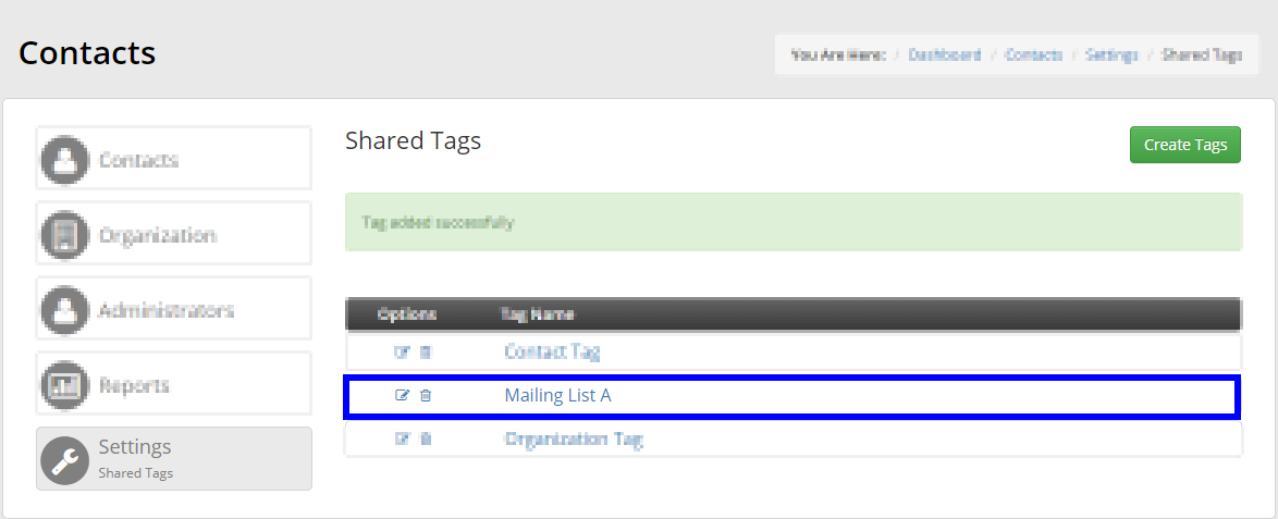 Image showing a list of Contact Tags, indicating the 'Mailing List A' tag that we created.