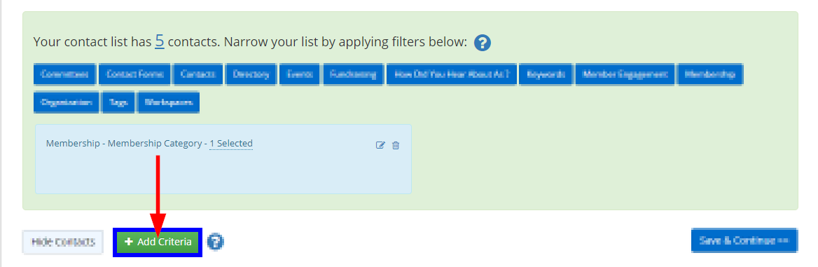 Image showing our existing list, with five Contacts, and indicating the 'Add Criteria' button.