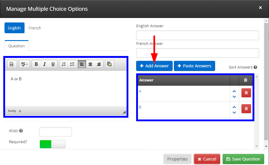 Image showing the window to manage an existing Form Question.
