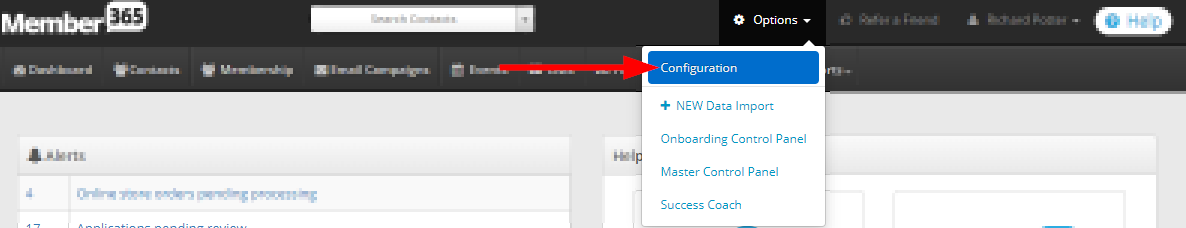 Image indicating the 'Configuration' button from the Options drop-down menu.