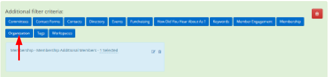 Image showing the 'Organization' button from the additional filtering options area.